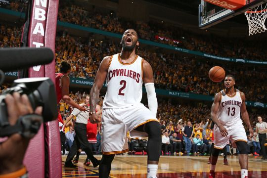 Kyrie Irving of the Cleveland Cavaliers reacts to a play in Game One of the Eastern Conference Semifinals against the Chicago Bulls during the 2015 NBA Playoffs on May 4, 2015 at Quicken Loans Arena in Cleveland, Ohio.  (Photo by Nathaniel S. Butler/NBAE via Getty Images)  #NBA#basketball#Kyrie Irving#Kyrie#Cleveland Cavaliers#Cleveland#Cavaliers#Cavs#NBA Playoffs