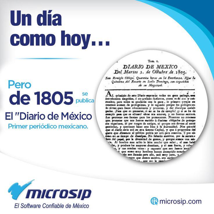 """Un día como hoy, 1° de octubre, pero de 1805 se publica el """"Diario de México"""", primer periódico mexicano."""