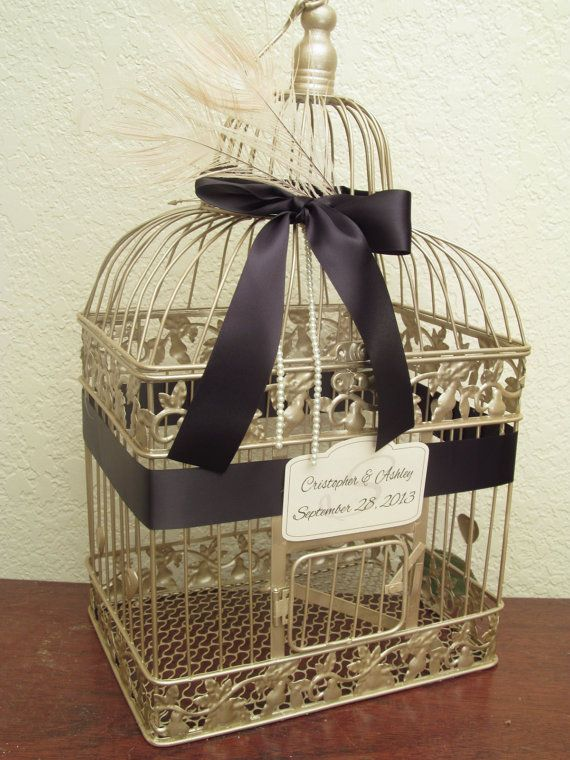 Champagne Bird Cage Card Box / Ivory Peacock Feathers / Pearls / Wedding Card Holder Birdcage. $65.00, via Etsy.