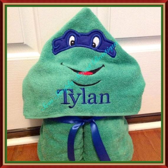 SALE Ninja Turtle Embroidery Hooded Bath by AKidsDreamBoutique