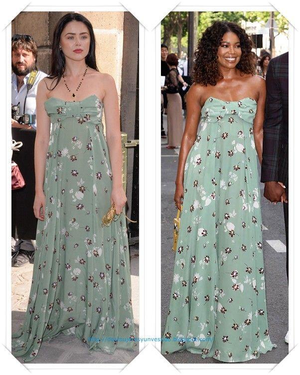 Un vestido de Valentino pre-fall 2017 lo llevaron, durante el desfile de Alta Costura de la firma, Kristina Bazan y Gabrielle Union.