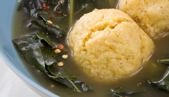 "COLLARD GREENS WITH CORNMEAL DUMPLINGS  |  light, buttery dumplings rich in cornmeal flavor and lingeringly sweet; the collards swirl alongside in a smoky broth.  (Southern Native American culture (Cherokee, Chickasaw, Choctaw, Creek is the cornerstone of the American south's cuisine ...Native American boiled cornbread is present in Southern cuisine as ""corn meal dumplings"" and ""hush puppies"")"
