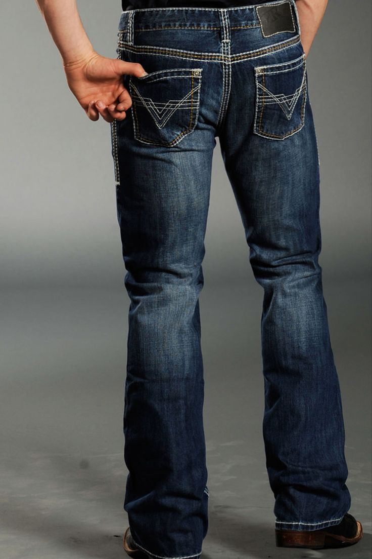 Mens Dark Wash Bootcut Jeans - Is Jeans