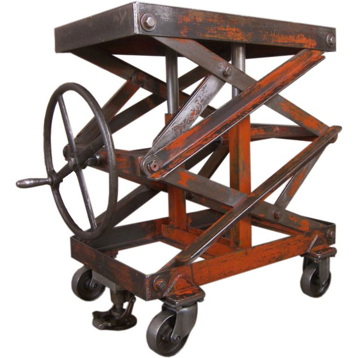 Vintage industrial adjustable steel scissor lift cart table vintage indus - Table basse ajustable ...