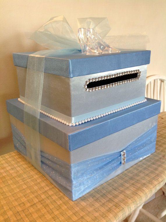Cinderella Light Blue 2-tier Card Box for Wedding by IXTStudio                                                                                                                                                      More