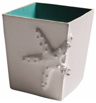 Aqua Starfish Wastebasket by Jane Gray for Stray Dog Designs tropical waste baskets