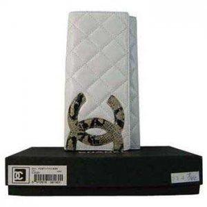 Chanel Blanc/Serpentine grand porte-feuille Double Soldes CCS128,chanel pas cher  €76.00