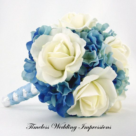 Blue Wedding Bouquet Roses Hydrangeas Bridal Real Touch Flowers Silk