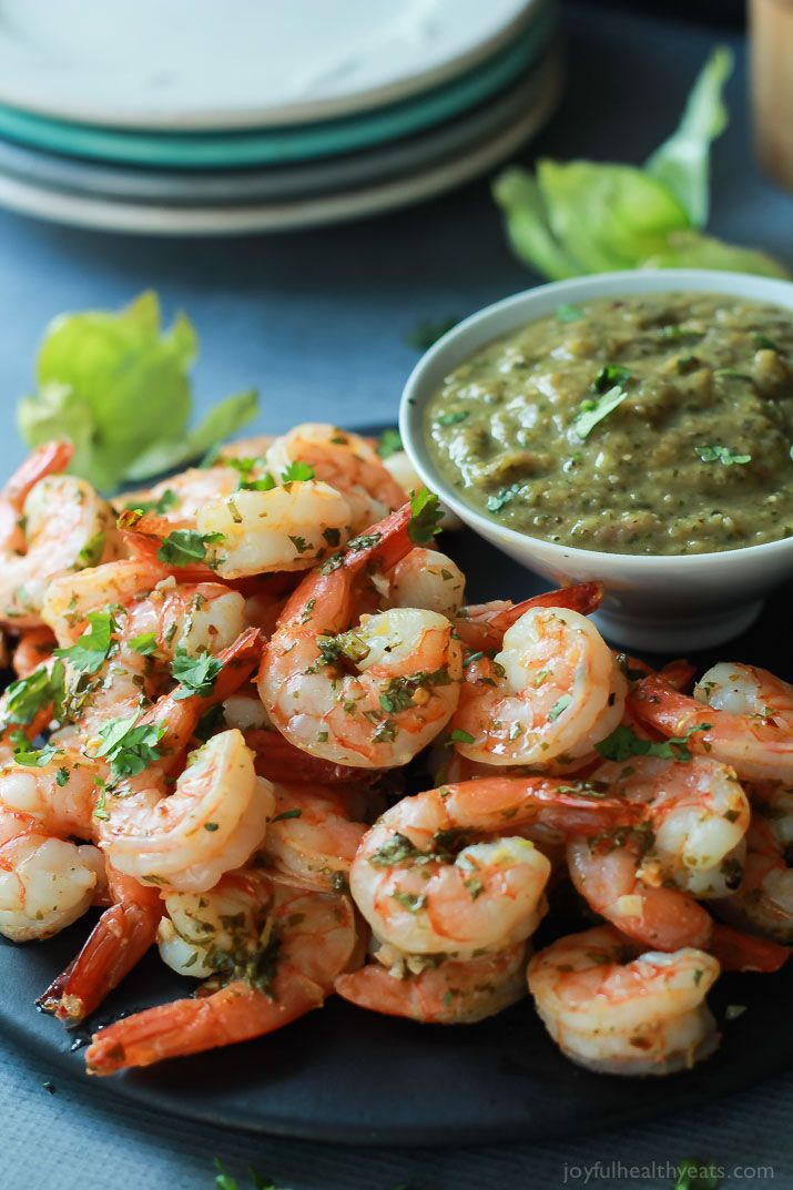 Cilantro Lime Roasted Shrimp packed with fresh cilantro and zesty lime then served with a homemade Roasted Tomatillo Sauce - this classic appetizer with a twist will be your new favorite! | joyfulhealthyeats.com #recipes #cincodemayo
