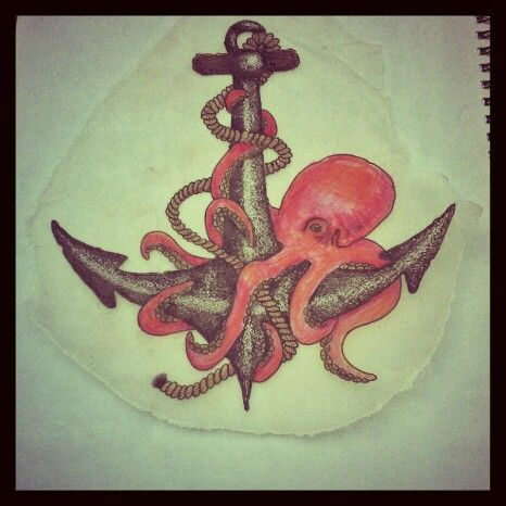 Classic Octopus With Anchor Tattoo Design