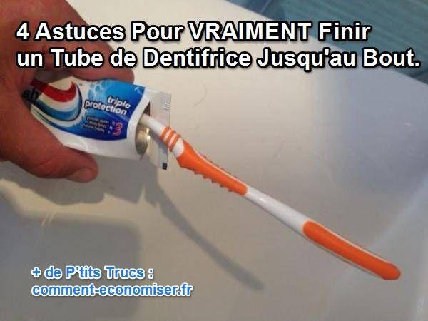 Éviter le gaspillage, c'est aussi économiser. Alors voici 4 astuces pour ne plus laisser une goutte de dentifrice dans le tube. Découvrez l'astuce ici : http://www.comment-economiser.fr/astuces-pour-finir-tube-dentifrice.html?utm_content=buffer39ea5&utm_medium=social&utm_source=pinterest.com&utm_campaign=buffer