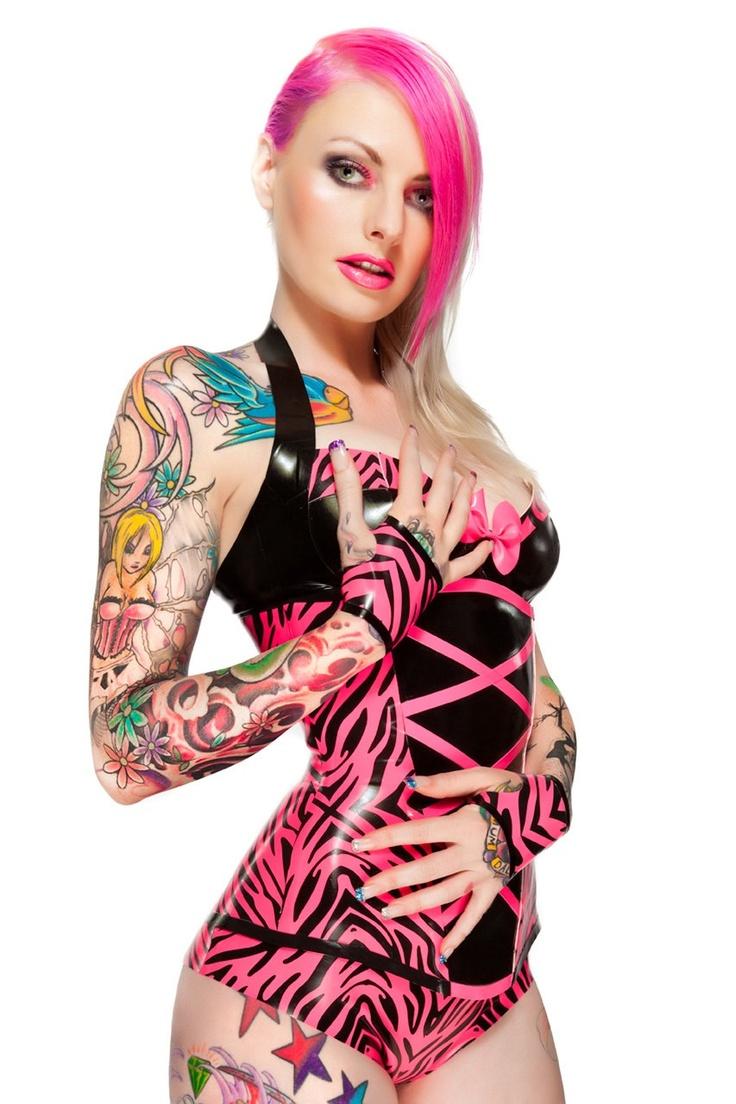 Vibrant pink zebra print corset, bra, underwear, and glove latex set by VEnus Prototype via Etsy