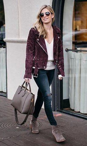 Purple Jacket / White V-neck Top / Ripped Skinny Jeans / Grey Suede Booties / Grey Leather Tote Bag