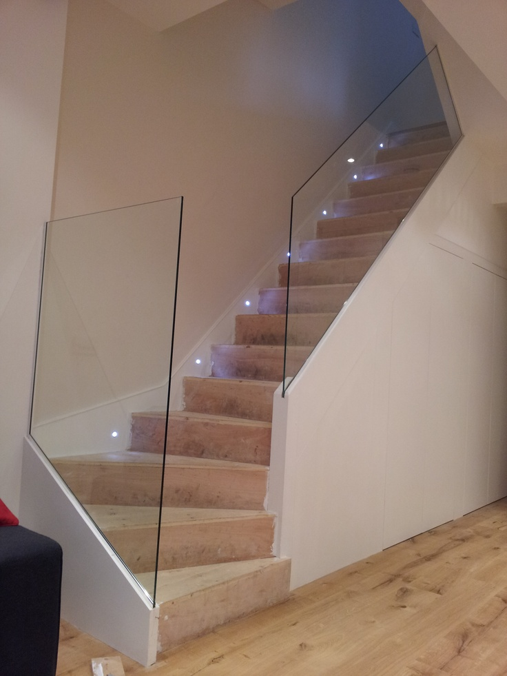 Glass balustrade  MDM glass london  Stairs  Stairs Cottage stairs Concrete stairs
