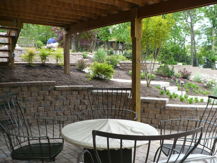 Retaining wall and patio under deck.