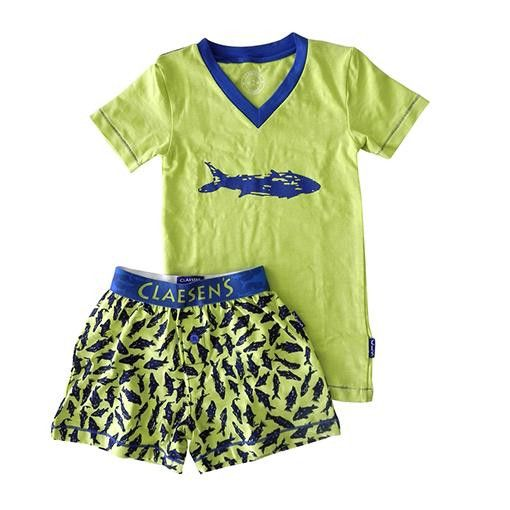 Claesens Boy's Lime Shark Short Pyjama Set