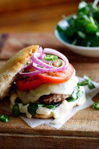 Lamb & Hummus burger: Simply Delicious, Hummus Tops, Health Food, Lamb Hummus, Hummus Burgers, Red Onions, Provolon Chee, Burgers Recipes, Lamb Burgers