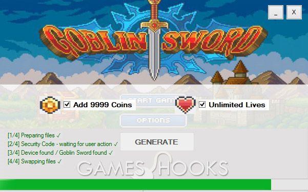 Goblin Sword Hack (Coins,Lives) | Games Hooks