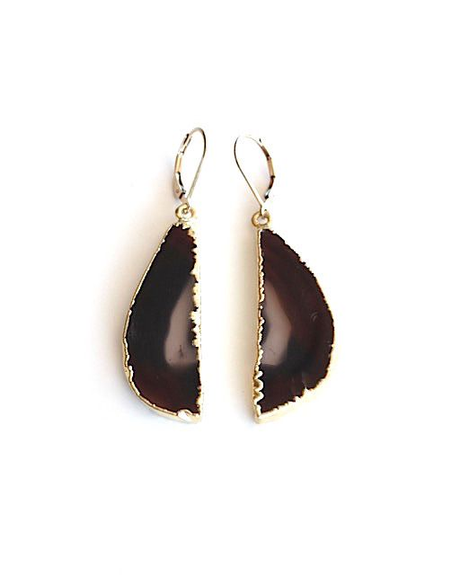 Agate Dark Brown Gold Drops