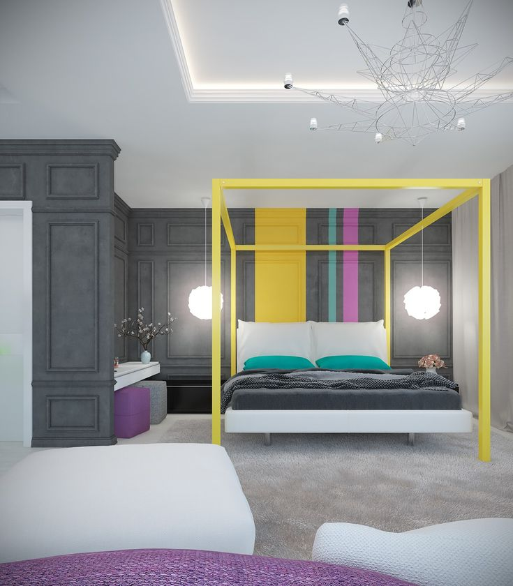 Modern Interior Colors Purple Color Bedroom Masculine: A Pair Of Modern Homes With Distinctively Bright Color