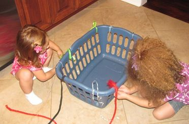 laundry basket weaving- maybe this will keep them occupied while I fold clothes?