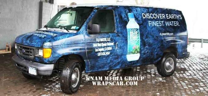 Fiji Water Van Wrap Advertising by KNAM Media Group: printing and installation.