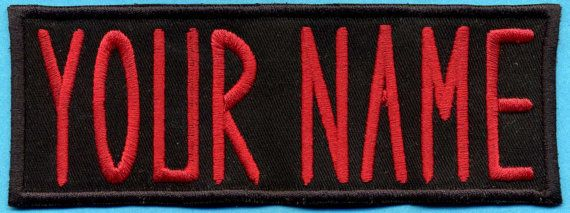 This is a custom made name patch for the Ghostbusters - YOUR NAME. This is a black patch with red lettering, and the CHILD sized one is 1.5 tall by