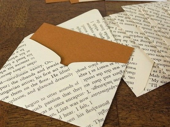 Pages from an non-usable book & making your own envelopes.
