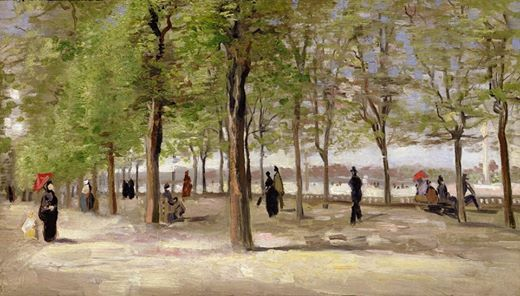 Art of the Day: Van Gogh, Terrace in the Luxembourg Gardens, Summer 1886. Oil on canvas, 27 x 46 cm. The Clark Art Institute, Williamstown MA.