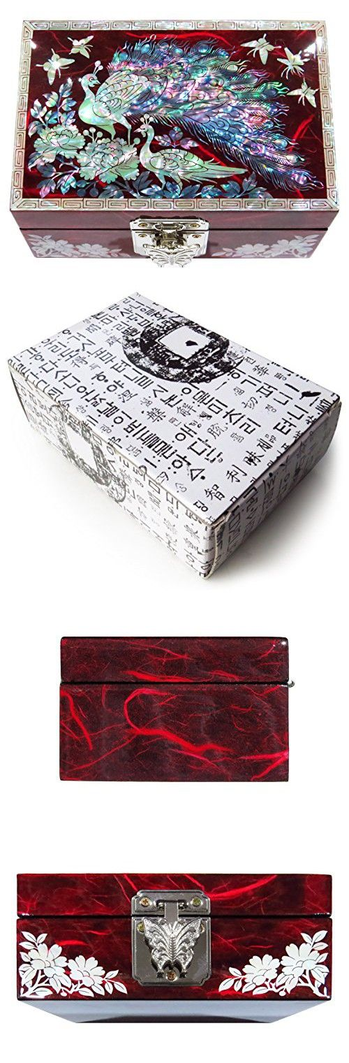 Jewelry Box Ring Organizer Mother of Pearl Inlay Mirror Lid Peacock (Red)