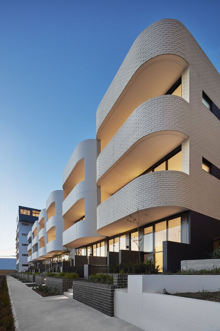 Contemporary Sydney Terrace design with Bricks. Rethinking street corners and conversation starters with sensuous brick curves: Eve Apartments by DKO Architecture | Architecture And Design