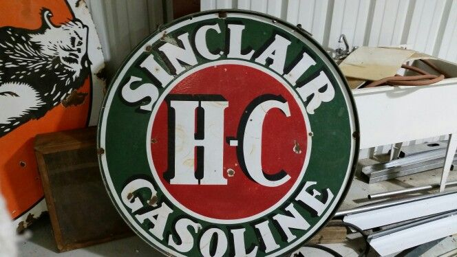 Sinclair HC Porcelain double sided gas sign with ring