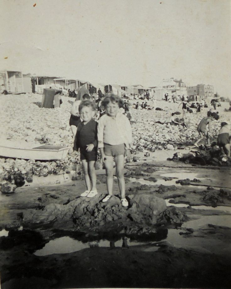 Vintage Beach Photo - Children on a Rocky Beach by ChicEtChoc on Etsy