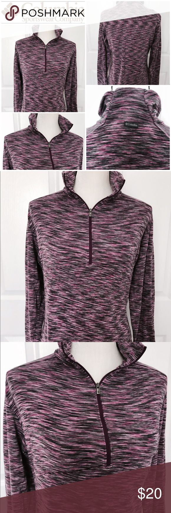 Columbia zip up pullover Columbia Sportswear Company Zip up Pullover. Long sleeve. Perfect for a morning run! Stretchy soft material. The colors are purple, pink, and black stripes. Columbia Sweaters