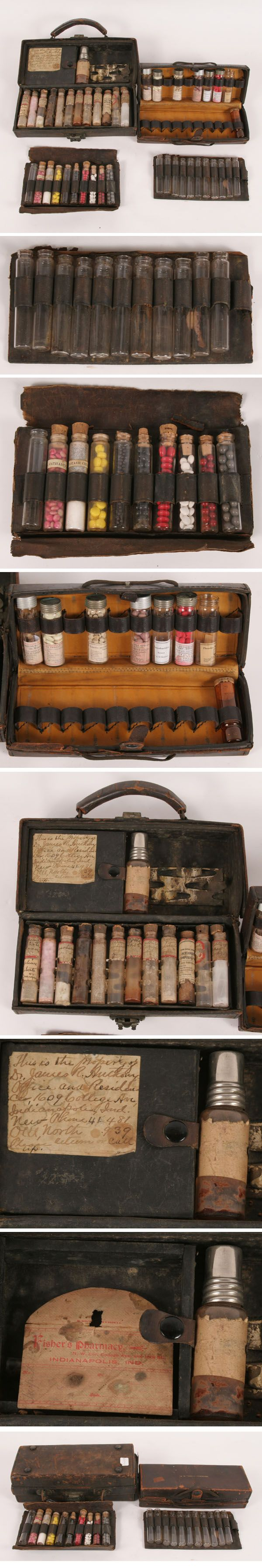 VINTAGE Leather Medical Medicine Case/Bag  Original Vials and Medicine