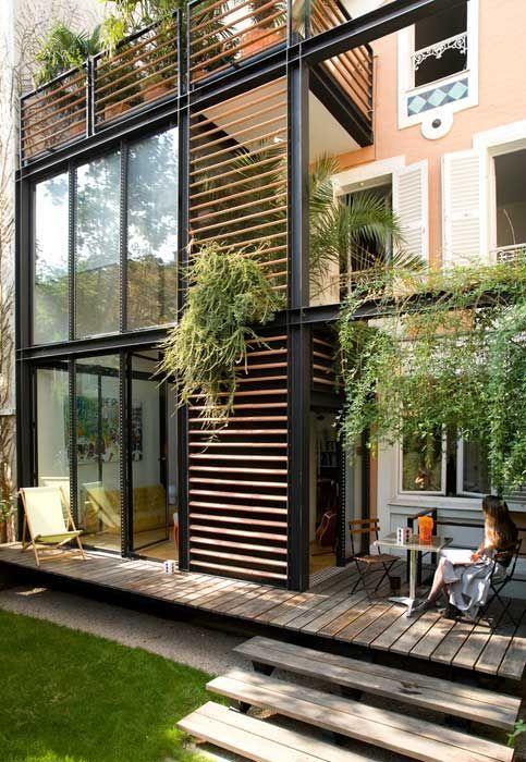 Habiller la fa ade avec une structure m tal bois extensions pour la maison pinterest - Facade maison en bois ...