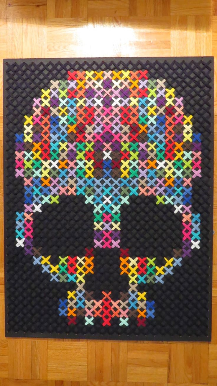 Rainbow Cross stitch: Giant Rainbow Skull