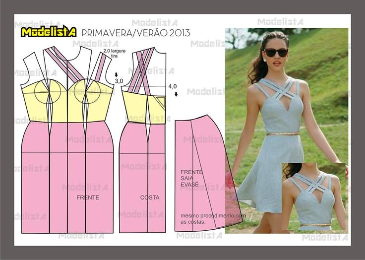 Modelagem de vestido com alças transpassadas. Fonte: https://www.facebook.com/photo.php?fbid=571575852878324&set=pb.422942631074981.-2207520000.1382876578.&type=3&theater