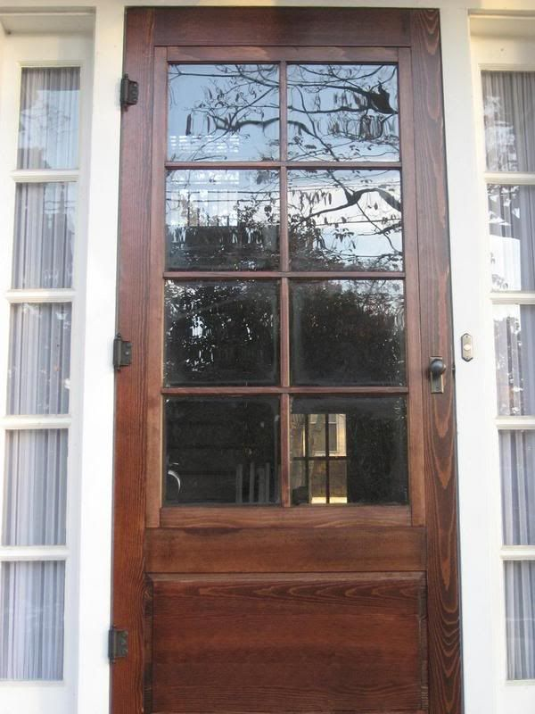 """But man oh man, they are a lot of work. I just installed this new wooden storm door on my house. I was debating between aluminum ($500, due to the 84"""" height) vs. wood (a smidge less than $500). I opted for the wooden because I'm striving to keep the house true to the 1920s time period but what..."""