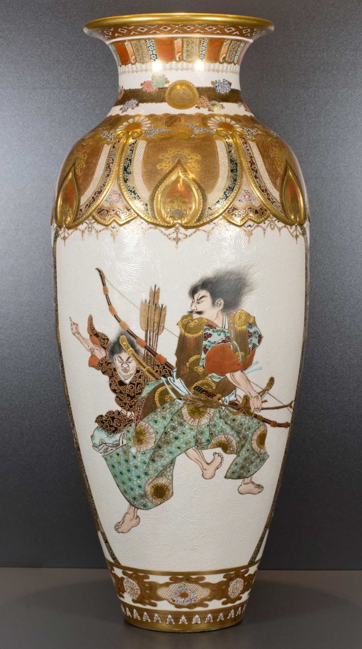 1542 best vases images on pinterest porcelain vases and vase large exceptional quality japanese satsuma samurai vase attr to kinkozan the date of manufacture has reviewsmspy