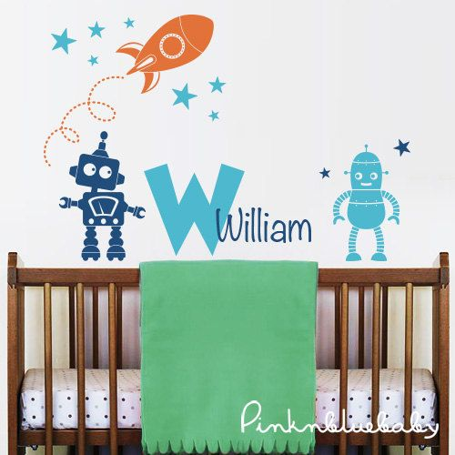 "[ITEM NO. CN90707] Rocket, Robots, Stars and Personalized Name with Monogram Decal Set Size : 48""w x 32""h (approx.) [SET INCLUDED] > 1"
