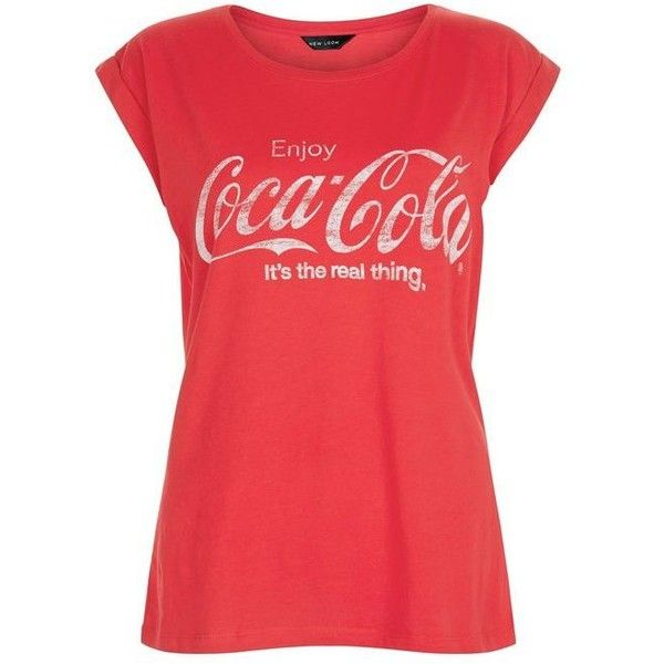 Red Coca Cola Slogan Roll Sleeve T-Shirt ($18) ❤ liked on Polyvore featuring tops, t-shirts, slogan t shirts, slogan tees, red top, red tee and rolled sleeve t shirt