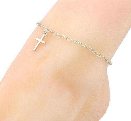 cross anklet silver cross anklet women anklet silver plated