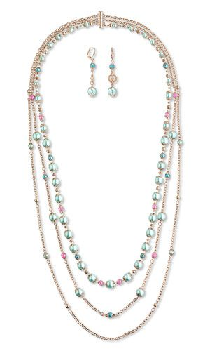 Triple-Strand Necklace and Earring Set with Celestial Crystal� Beads, Czech Pearl-Coated Glass Druk Beads and Rose Gold-Plated Brass Components