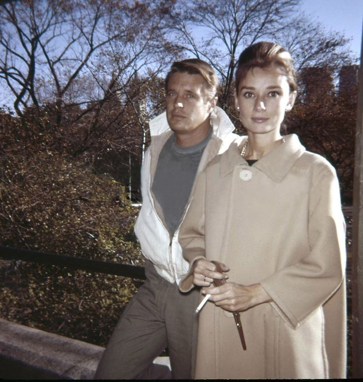 "Audrey and George behind the scenes of ""Breakfast at Tiffany's"", Cental Park,New York,1961"