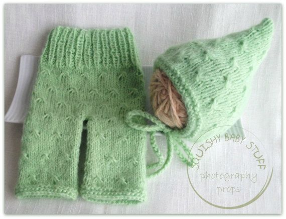 Newborn Knitted Pants and Pixie Hat Set by SquishyBabyStuff, $33.00
