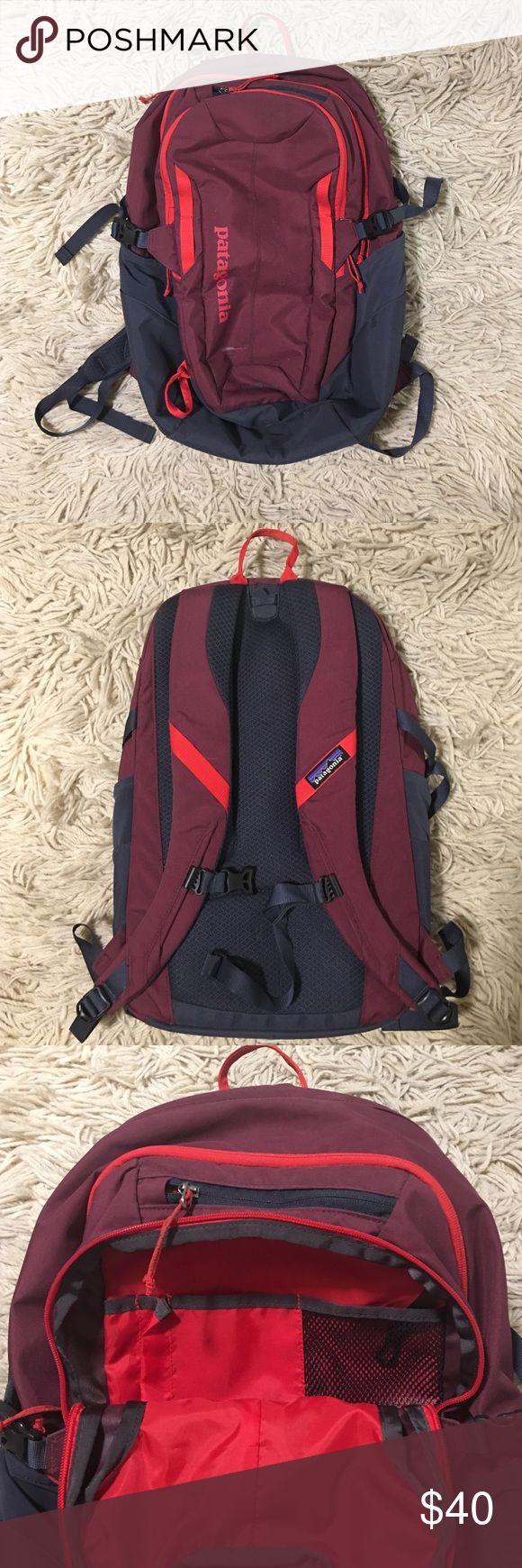 Patagonia Refugio 28L Backpack 28L - Plum, grey, with red/orange accents - barely used - Front, middle, and back pockets plus small pocket on top & one on each side - Perfect for hiking or other activities - not for trade Patagonia Bags Backpacks