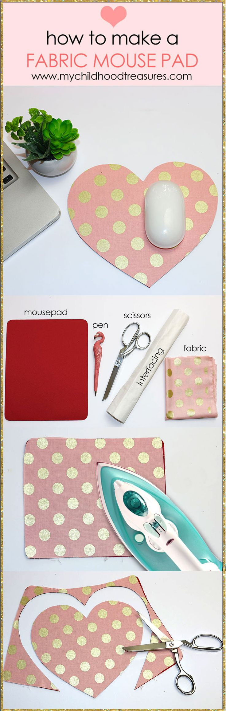 DIY - How to make a fabric mouse pad. Includes a printable heart template