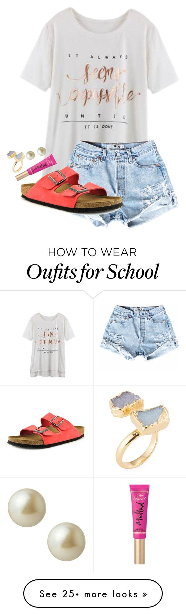 """""""who invented school anyway?!?"""" by ellababy13 on Polyvore featuring Birkenstock, Too Faced Cosmetics, Carolee, Alanna Bess, women's clothing, women, female, woman, misses and juniors"""