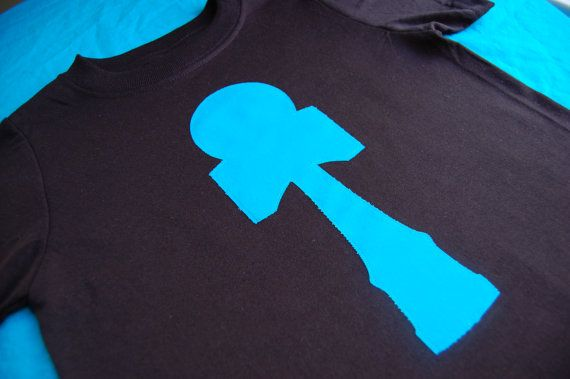 Black and Ceruclean Blue Kendama TShirt by ShopMelissa on Etsy, $15.00